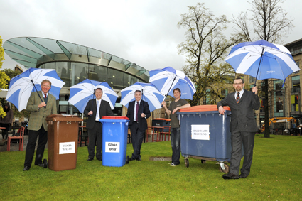 (L-R) Denzil Skinner, Chair of Essential Edinburgh; Alistair Morrice from Shanks; Environment Secretary Richard Lochhead; Café Pavilion Barista, Graeme Bellew; and Iain Gulland, Director of Zero Waste Scotland, visit a local business in Edinburgh which has signed up to a single waste contract to save money while recycling more