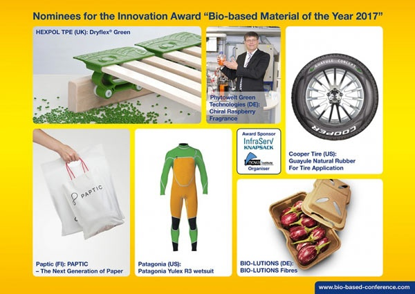 Innovative materials announced for 2017 bio-based award