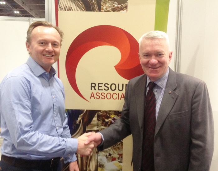 (L-R): PlasRecycle Chief Executive Duncan Grierson with Resource Association Chief Executive Ray Georgeson at the association's stand at the recent Resource Event at the ExCeL in London.