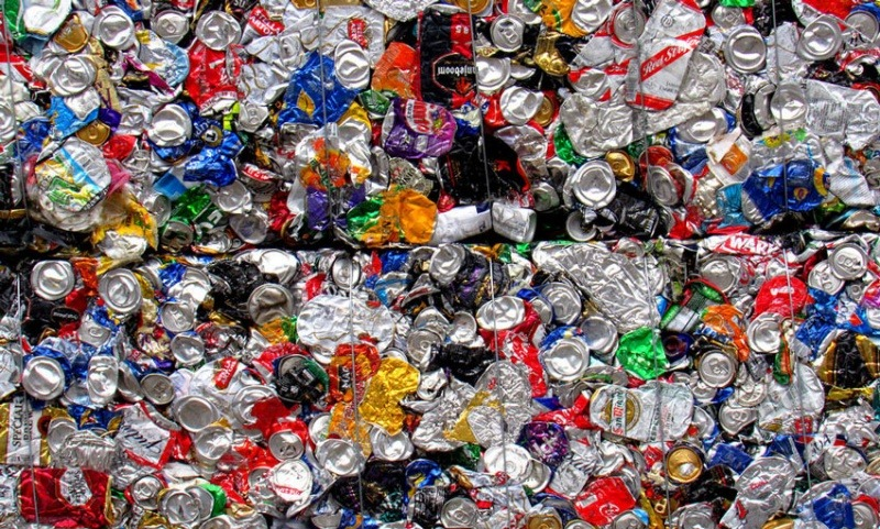Crushed and baled aluminium cans
