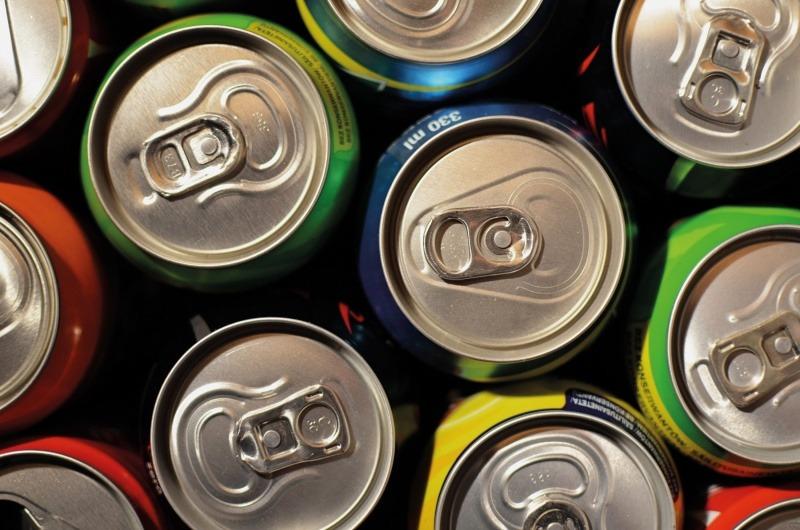A close-up of aluminium cans