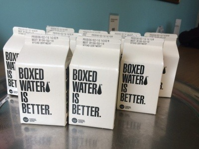 Cartons of water reading 'Boxed water is better'