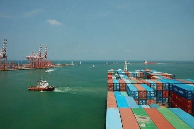 A view of shipping containers at Colombo Port