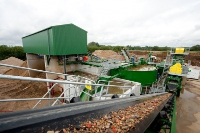View from the conveyor belt at a construction and demolition waste recycling plant