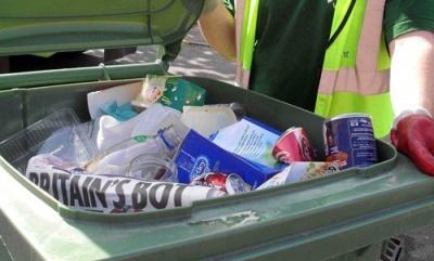 Open co-mingled recycling bin