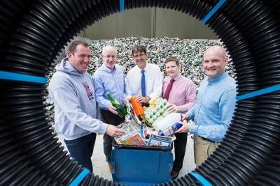 Recycling Rewards Launch: Trevor McMahon MACS, Fiacre O'Donnell of Encirc, Eric Randall, Bryson Recycling, Jeff Kearon from Huhtamaki and Kris McClelland, Cherry Pipes