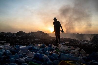 Burning waste in Tanzania.