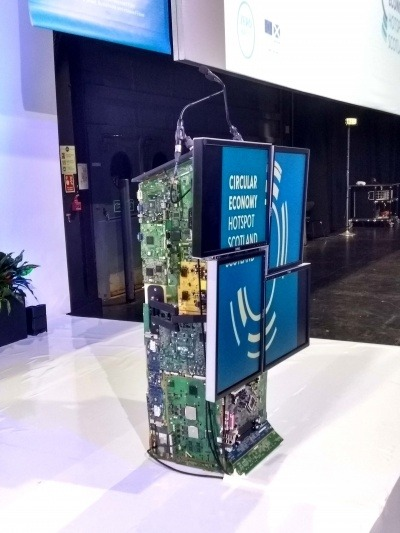 Lectern made from reused computer parts at the Circular Economy Hotspot