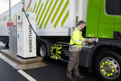 A Waitrose truck being refuelled with CNG Fuels biomethane