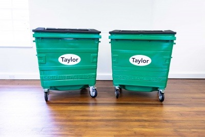 Egbert Taylor bins, one with wet paint and the other powder-coated.
