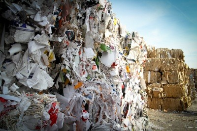 Bales of paper waste