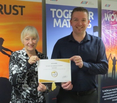 Go Plant Fleet Services HR Manager Sheldon Gayfer and Karen Roberts, Environmental Manager with the EcoVadis certificate