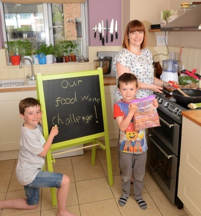 A family in East Anglia try out Hubbub's food waste challenge
