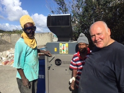 QCR helps turn glass into bricks in the Grenadines