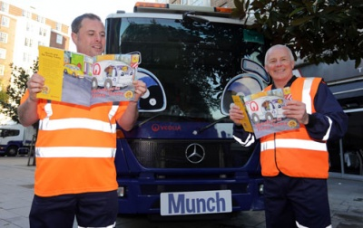 Sick lorry and little fish to teach children about waste issues
