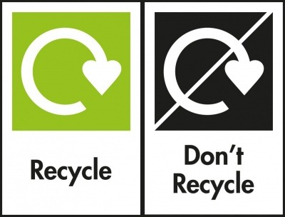 """OPRL's """"Recycle and """"Don't Recycle"""" packaging labels."""