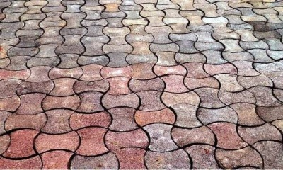 An image of paving tiles made from waste plastics by trainees in Cameroon