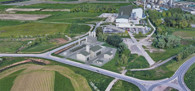 CGI image of proposed waste-to-hydrogen facility in Ellesmere Port.