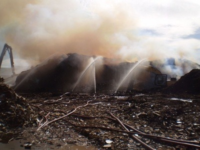 Waste wood fire at PLEVINS' Barnsley recycling centre