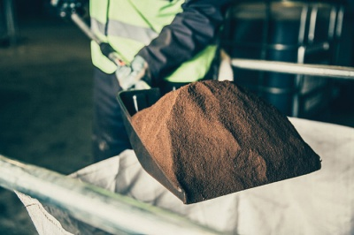 Coffee grounds at bio-bean's Cambridgeshire reprocessing facility