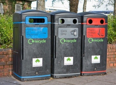 Colour-coded recycling bins outside Somerfield, Lower Northam Road, Peter Facey (CC BY-SA 2.0)