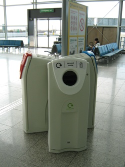 Recycling bins at Stansted Airport