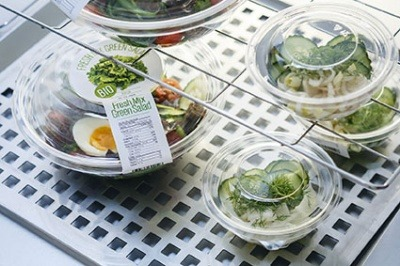 Clear salad bowls made from 100 per cent recycled PET plastic
