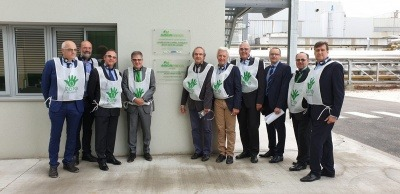 Regional government officials opening biomass plant in Venizel, France