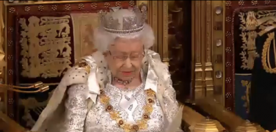 The Queen addresses Parliament at the state opening of Parliament.