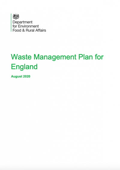 Front cover of Defra Waste Management Plan for England consultation document