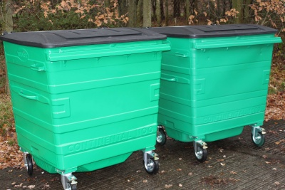 From Left to Right: Powder coated bin, wet painted bin