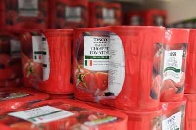 A multipack of Tesco own-brand tinned tomatoes