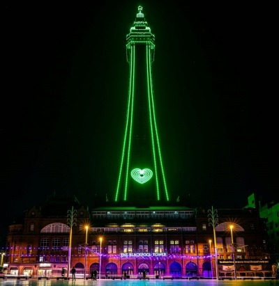Blackpool Tower lit up green for Recycle Week