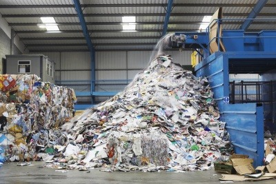 Surplus waste at recycling facility