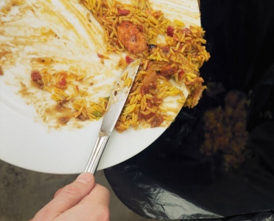 A plate of food waste