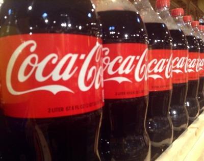 Row of Coca-Cola bottles