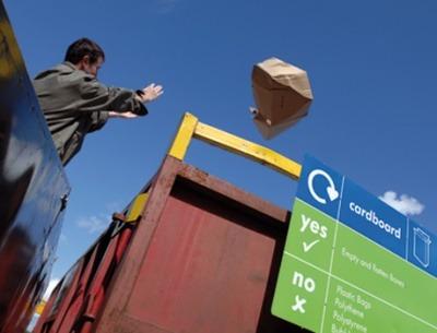 Man disposing of waste at HWRC