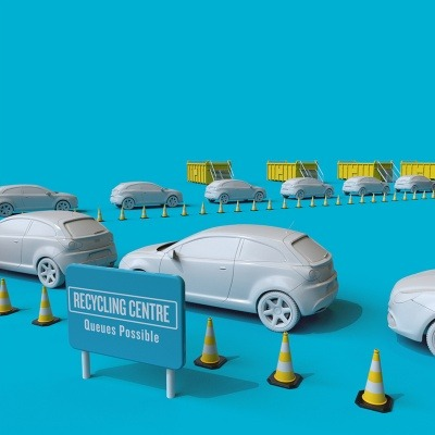 An image of cars queuing