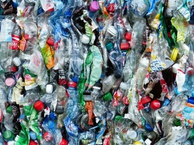 Close-up of crushed and baled plastic bottles