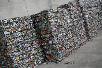 Bales of recycling.
