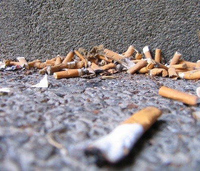 Cigarette butts on the floor