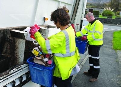 Waste collectors in Gwynedd.