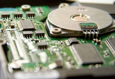 Close-up of the metals on a circuit board