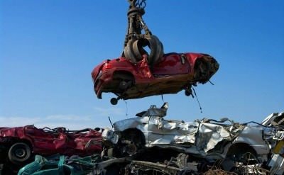 A car being scrapped for recycling.