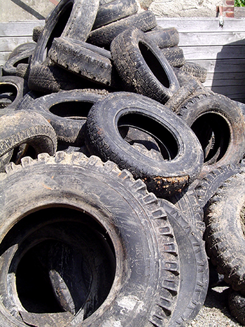 Pile of tyre waste