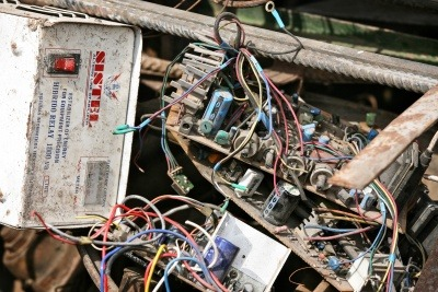 Waste electronic and electrical equipment being recycled.