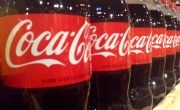 Row of Coca-Cola bottles