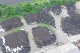 Illegal tyre waste at the former Byass Works site in Port Talbot.