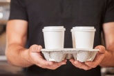 Tray of disposable paper coffee cups
