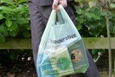 A Mater-Bi compostable carrier bag.